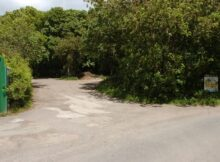 Entrance to the proposed development site where the fire used to be